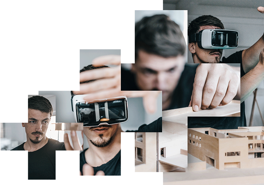 images of man with virtual reality and architectural model